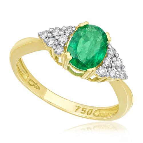 Anel com 12 Diamantes e Esmeralda Oval, em Ouro Amarelo