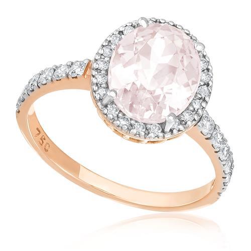 Anel com 32 Diamantes e Morganita de 1,9 Ct, em Ouro Rose