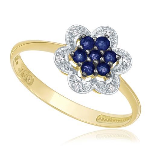 Anel Flor com 6 Diamantes e 7 Safiras, em Ouro Amarelo