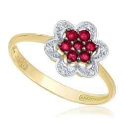Anel Flor com 6 Diamantes e 7 Rubis, em Ouro Amarelo