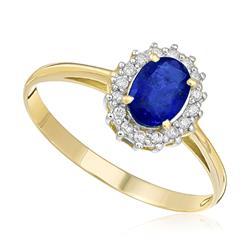 Anel com 16 Diamantes e Safira Oval de 1,06 Cts., em Ouro Amarelo