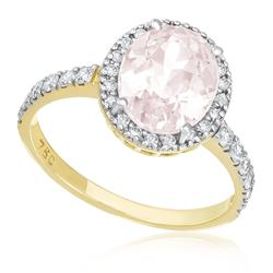 Anel com 32 Diamantes e Morganita de 1,9 Cts., em Ouro Amarelo