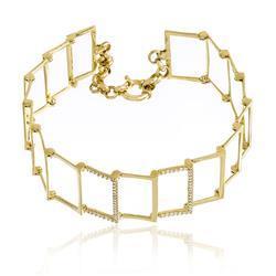 Pulseira com Retangulos Vazados e 56 Diamantes, em Ouro Amarelo