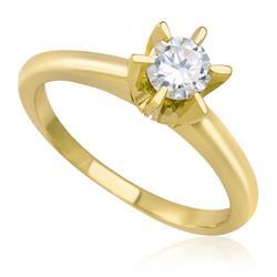 Anel Solitário com Diamante de 25 Pts, em Ouro Amarelo