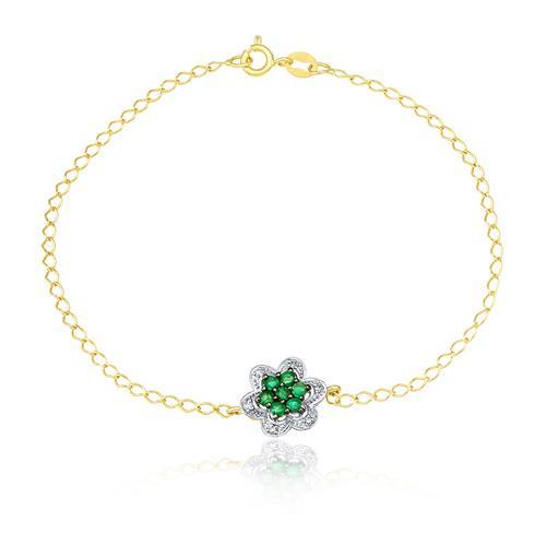 Pulseira com Pingente Flor com 7 Esmeraldas e 6 Diamantes, em Ouro Amarelo