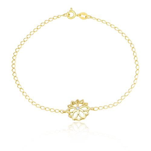 Pulseira com pingente Flor vazada com Diamante, em Ouro Amarelo