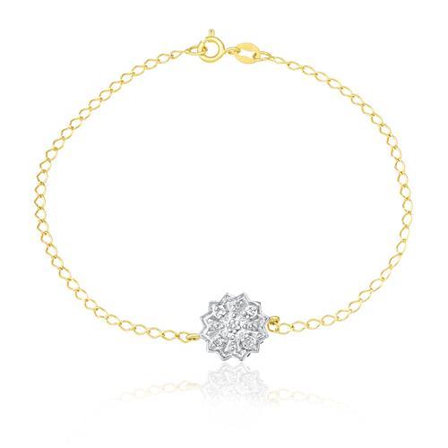 Pulseira com Pingente Chuveiro com 4 Diamantes, em Ouro Amarelo