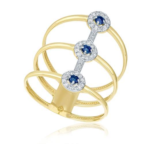 Anel Aro Triplo Largo com 3 Safiras e 36 Diamantes, em Ouro Amarelo