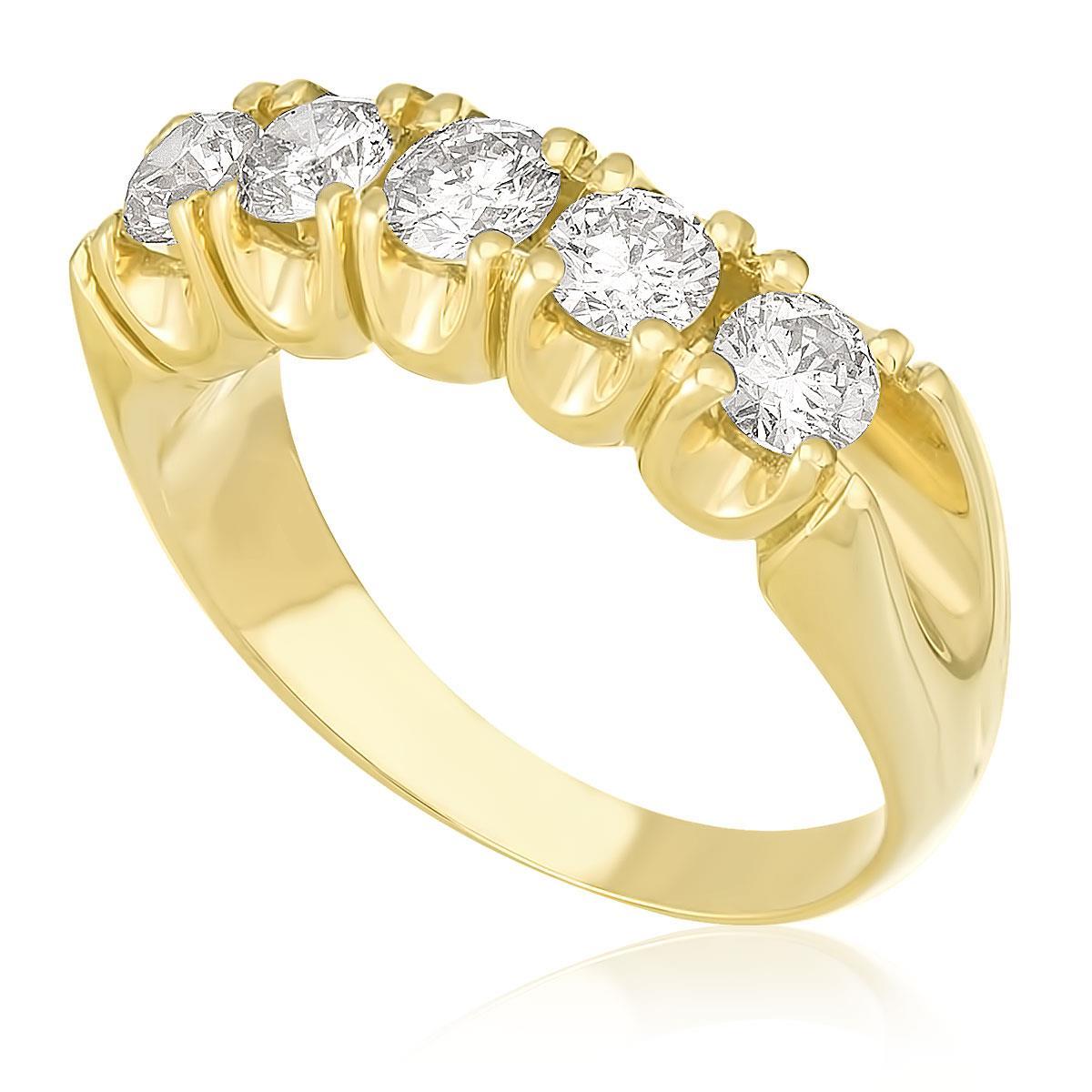 2637b08d47da9 Meia Aliança de ouro com 5 Diamantes totalizando 1