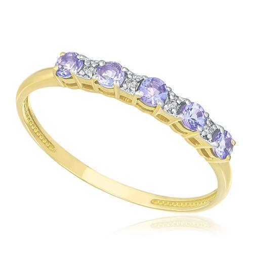 Meia Aliança com 4 Diamantes e 5 Tanzanitas, em Ouro Amarelo