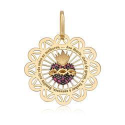 Pingente Vazado Sagrado Coração com 11 Rubis, em Ouro Amarelo