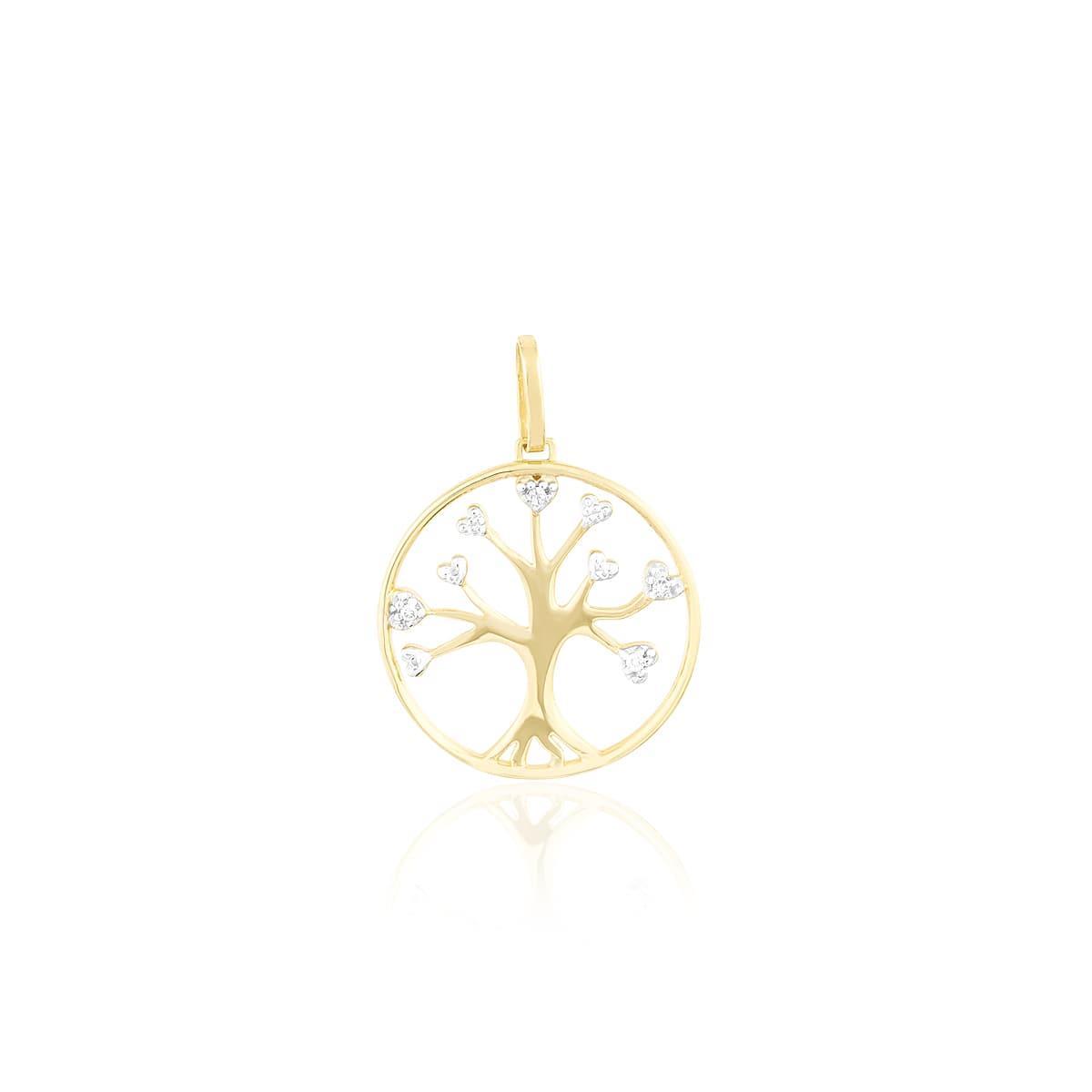 47a4defe1d07b Pingente de Ouro Árvore da Vida com 4 Diamantes