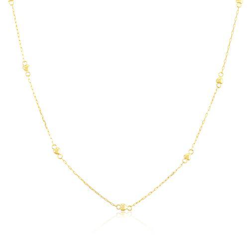 Corrente Feminina Elos Cartier com Corações, 1,9 grama em Ouro Amarelo