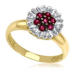 Anel Chuveiro com Rubis e Diamantes em Ouro Amarelo