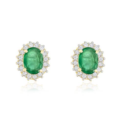 Par de Brincos com 1,3 Ct em Esmeraldas e 32 Diamantes, em Ouro Amarelo