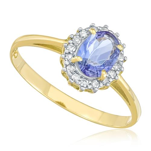 Anel com 16 Diamantes e Tanzanita de 65 pts., em Ouro Amarelo