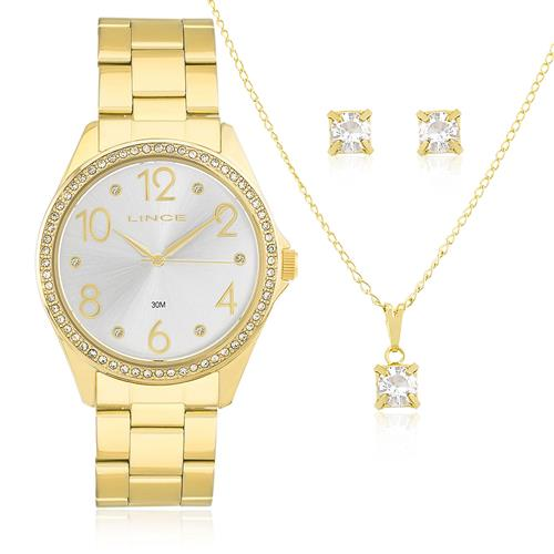 24130515628 Relógio Feminino Lince Analógico LRG4283L KT34 Aço Dourado com Cristais
