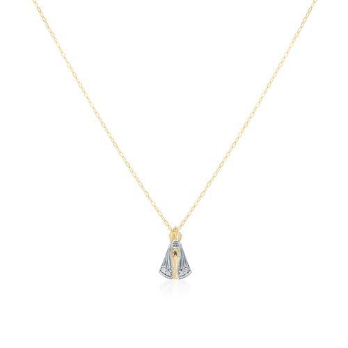 Pingente Nossa Senhora com 4 Diamantes, com Corrente em Ouro Amarelo