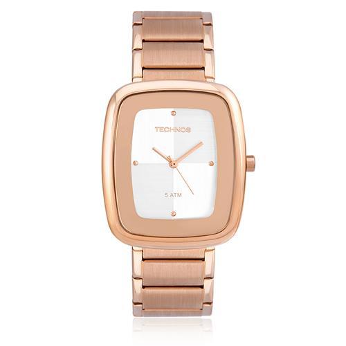 4e76e368f83 Relógio Feminino Technos Elegance Quartz Analógico 2035FFT 4K em aço rose