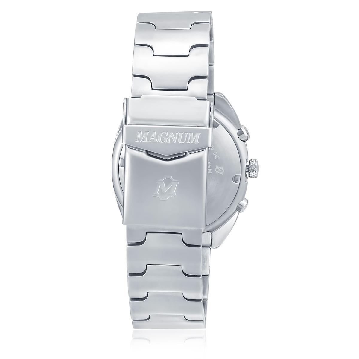 66e7afdbf71 Relógio Magnum Analógico MA30212Q Aço com fundo branco e preto