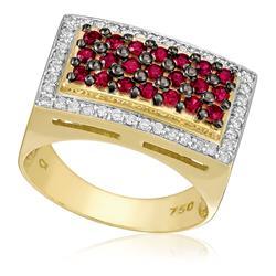 Anel com 40 Diamantes e 21 Rubis totalizando 70 pts., em Ouro Amarelo