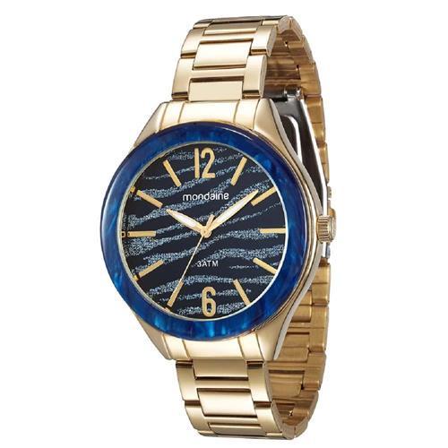 Relógio Feminino Mondaine Moda 12023LPMVDE2 Dourado com fundo azul