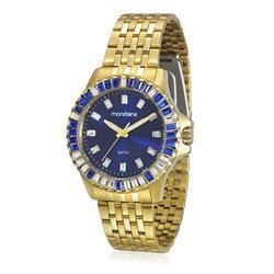 Relógio Feminino Mondaine Moda Analógico 94702LPMVDA2 Dourado com strass