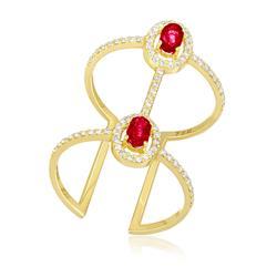 Anel Largo com Aro Aberto e 2 Rubis e 79 Diamantes, em Ouro Amarelo