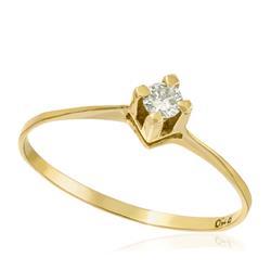 Anel Solitário com Diamante de 15 Pts, em Ouro Amarelo