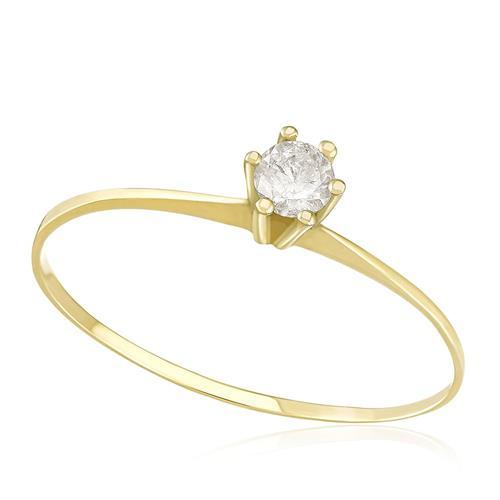 7a383cf7af3ad Anel Solitário com Diamante de 15 Pts, em Ouro Amarelo