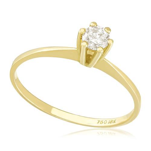 Anel Solitário com Diamante Amarelo de 17 Pts, em Ouro Amarelo 678948f7b1