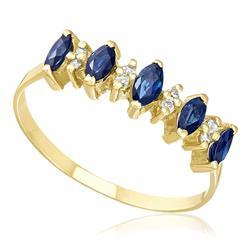 Meia Aliança com 5 Safiras Navetes e 8 Diamantes, em Ouro Amarelo