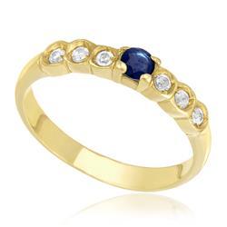 Meia Aliança com Safira Central e 6 Diamantes, em Ouro Amarelo