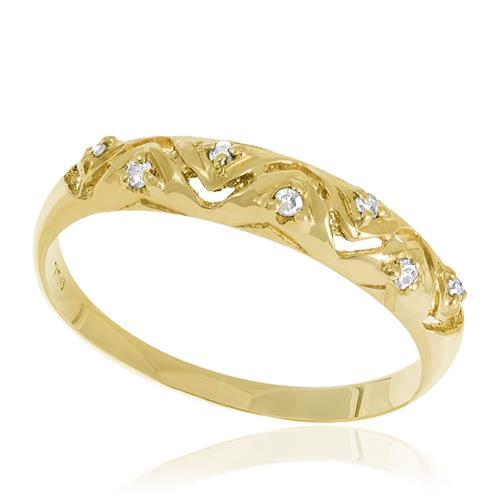 Meia Aliança com design Ondulado com 7 Diamantes, em Ouro Amarelo