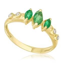 Meia Aliança com 3 Esmeraldas e 4 Diamantes, em Ouro Amarelo df14375de9