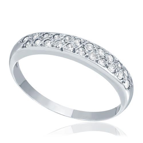 Meia Aliança com 22 Diamantes, em Ouro Branco
