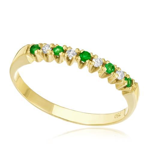 2e1c66b9a7684 Meia Aliança com 4 Diamantes e 5 Esmeraldas, em Ouro Amarelo