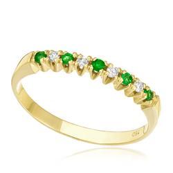 Meia Aliança com 4 Diamantes e 5 Esmeraldas, em Ouro Amarelo d49b64e318
