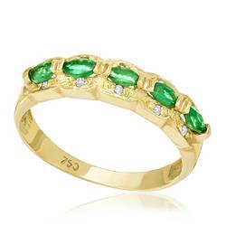 Meia Aliança com 5 Esmeraldas Ovais e 10 Diamantes, em Ouro Amarelo