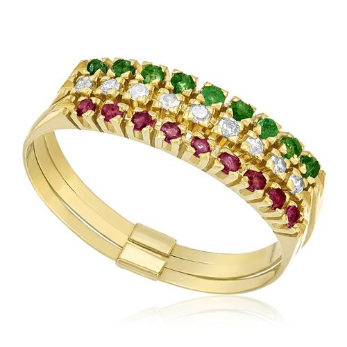 6650010c50faa Meia Aliança Tripla com Esmeraldas, Diamantes e Rubis, em Ouro Amarelo