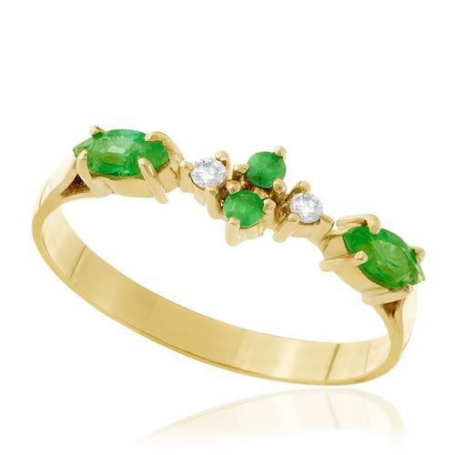 Meia Aliança com 4 Esmeraldas e 2 Diamantes, em Ouro Amarelo
