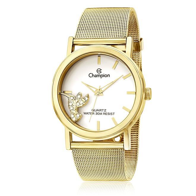 6697a6c2e12 Relógio Feminino Champion Analógico CH25838H Dourado com Beija-Flor