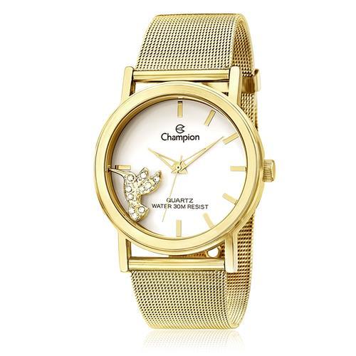 31efbae531e Relógio Feminino Champion Analógico CH25838H Dourado com Beija-Flor