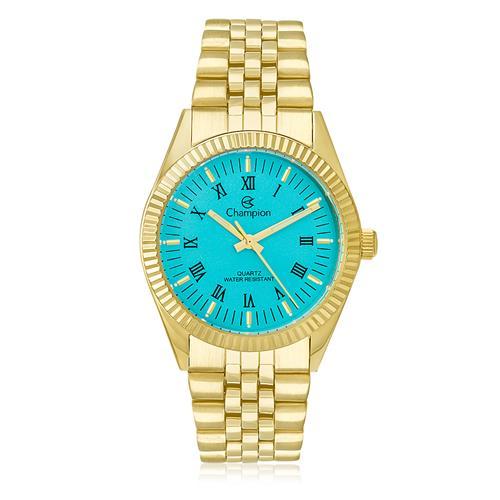 6ce610c79d1 Relógio Feminino Champion Analógico CH24777F Dourado com fundo azul turquesa