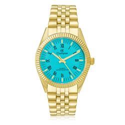 Relógio Feminino Champion Analógico CH24777F Dourado com fundo azul turquesa