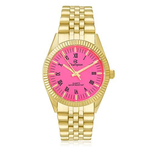 bf6cb0a5a23 Relógio Feminino Champion Analógico CH24777L Dourado com fundo rosa