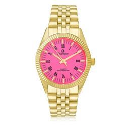 Relógio Feminino Champion Analógico CH24777L Dourado com fundo rosa