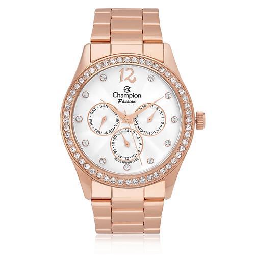 5f21106c311 Relógio Feminino Champion Passion Analógico CH38404Z Aço Rose com cristais