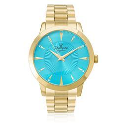 77098db01c2 Relógio Feminino Champion Elegance Analógico CN25092F Fundo azul turquesa