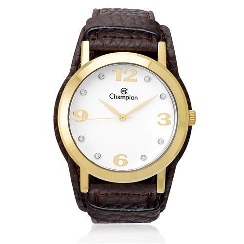 b55591748d8 Relógio Feminino Champion Analógico CN20202S Couro Marrom com cristais